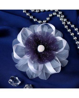 """Резинка для волос бант """"Школьница"""" 10 см пышный цветок, бело-синий арт. СМЛ-109424-1-СМЛ0005181228"""
