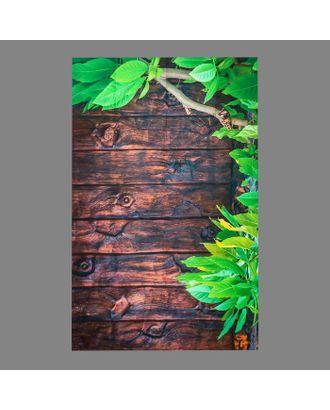 """Фотофон винил """"Зелёное дерево и коричневые доски """" 80х125 см арт. СМЛ-113163-1-СМЛ0005197257"""