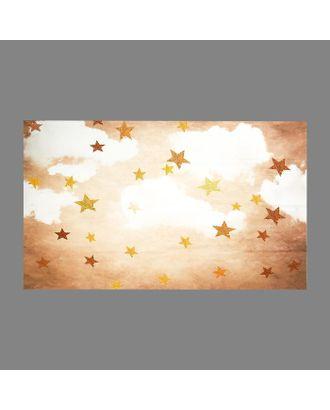 """Фотофон винил """"Облака с золотыми звёздами"""" 90х150 см арт. СМЛ-113168-1-СМЛ0005197262"""