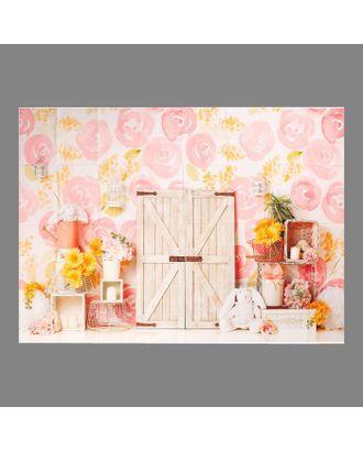 """Фотофон винил """"Розовые розы на стене"""" 150х210 см арт. СМЛ-113179-1-СМЛ0005200198"""