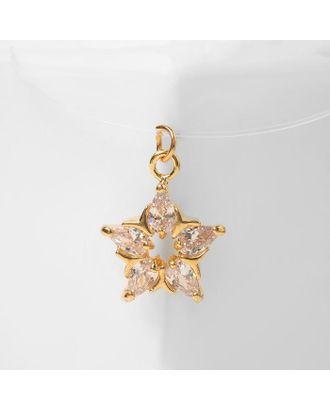 """Кулон """"На леске"""" циркония, звезда, цвет белый в золоте, 30см 4096970 арт. СМЛ-125691-1-СМЛ0005212927"""