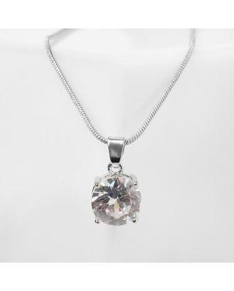 """Кулон """"Стразинка"""" в цапе, цвет белый в серебре, 40см арт. СМЛ-125692-1-СМЛ0005212928"""