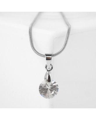 """Кулон """"Стразинка"""" кристалл, 40см, цвет белый в серебре 4782599 арт. СМЛ-125694-1-СМЛ0005212930"""