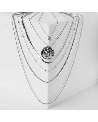 "Кулон ""Цепь"" авангард, лев, 4 яруса, цвет серебро, 35-50см арт. СМЛ-122797-1-СМЛ0005212934"