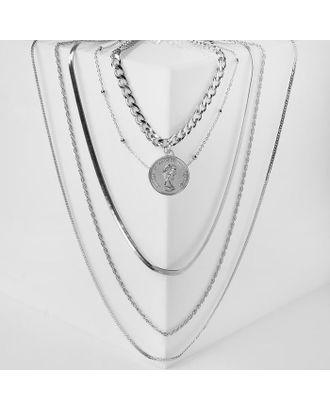 "Кулон ""Цепь"" авангард, монета, 4 яруса, цвет серебро, 35-70 см 4448622 арт. СМЛ-125048-1-СМЛ0005212935"