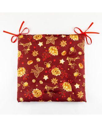 """Сидушка """"Этель"""" Golden Christmas 42х42х7см,100% хл,саржа 190гр/м2 арт. СМЛ-39510-1-СМЛ0005215709"""