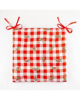 "Сидушка ""Этель"" Christmas red flowers 42х42х7см,100% хл,саржа 190гр/м2 арт. СМЛ-39511-1-СМЛ0005215710"