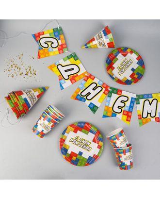 """Набор бумажной посуды """"С днем рождения, кубики"""", 6 тарелок, 6 стаканов, 6 колпаков, 1 гирлян арт. СМЛ-119084-1-СМЛ0005216758"""