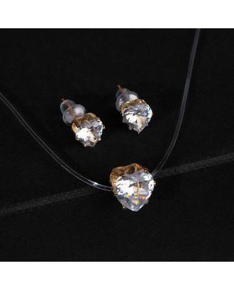 """Гарнитур 2 предмета: серьги, кулон """"На леске"""" сердечко, цвет белый в серебре арт. СМЛ-112734-2-СМЛ0005220763"""