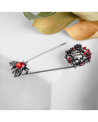 """Булавка """"Цветы и пчёлы"""", 7,5см, цвет красный в чернёном серебре арт. СМЛ-111955-1-СМЛ0005220779"""