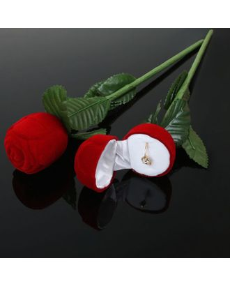"""Футляр под кольцо """"Роза"""" 4,5*4,5*25, цвет красно-зеленый, вставка белая арт. СМЛ-24476-1-СМЛ0523297"""