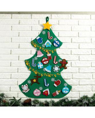"""Интерьерная ёлка """"Новогодняя"""", 22 игрушки на липучках, 2 гирлянды, 10 снежинок, 86×60 см арт. СМЛ-113520-1-СМЛ0005239305"""