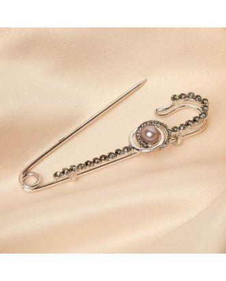 """Булавка """"Классика"""" овалы с жемчужиной, 7,5 см, цвет серый в серебре арт. СМЛ-125730-1-СМЛ0005244392"""