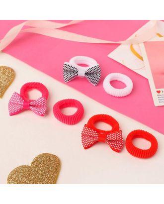 """Резинка для волос """"Нэнси"""" (набор 6 шт) бантики сердечки арт. СМЛ-125083-3-СМЛ0005256238"""