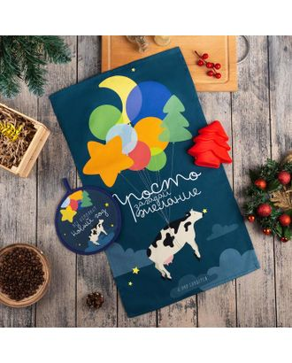 """Набор подарочный """"С Новым Годом"""" кух. полотенце, прихватка, силикон.форма арт. СМЛ-111204-1-СМЛ0005271292"""