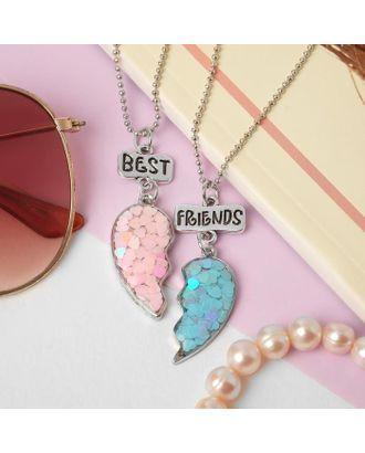 """Кулоны """"Неразлучники"""" лучшие подружки, цвет розово-голубой, 45 см арт. СМЛ-125733-1-СМЛ0005273764"""