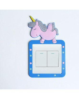 """Наклейка на выключатель """"Единорог"""" объемная, светится в темноте 8,6х8,6 см арт. СМЛ-123236-1-СМЛ0005289231"""