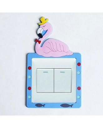 """Наклейка на выключатель """"Фламинго в шляпе"""" объемная, светится в темноте 8,6х8,6 см арт. СМЛ-123237-1-СМЛ0005289232"""