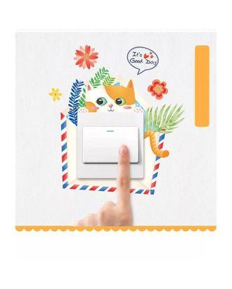 """Наклейка на выключатель """"Котик в листьях"""" 18х20 см арт. СМЛ-123244-1-СМЛ0005289239"""