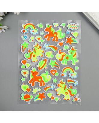 """Наклейка EVA светится в темноте """"Фламинго/Единороги"""" МИКС 25х14,5 см арт. СМЛ-122224-1-СМЛ0005294747"""