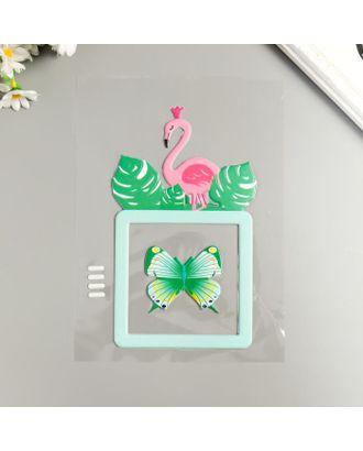 """Наклейка пластик светится в темноте на выключатель """"Фламинго и бабочка"""" 25х16,5 см арт. СМЛ-122229-1-СМЛ0005294754"""