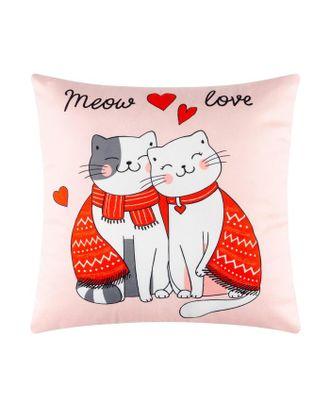 """Подушка """"Этель"""" Meow love, 40х40 см, велюр, 100% п/э арт. СМЛ-117169-1-СМЛ0005309885"""