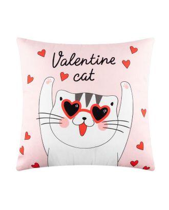 """Подушка """"Этель"""" Valentine cat, 40х40 см, велюр, 100% п/э арт. СМЛ-112480-1-СМЛ0005309886"""