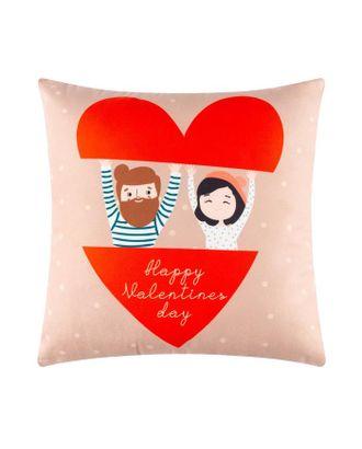 """Подушка """"Этель"""" Valentines day, 40х40 см, велюр, 100% п/э арт. СМЛ-117170-1-СМЛ0005309890"""