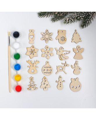 Подвески новогодние №4, 4×4 см арт. СМЛ-123025-1-СМЛ0005367769
