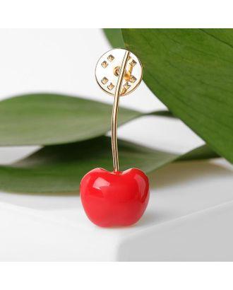"""Значок """"Вишенка"""", цвет красный  в золоте арт. СМЛ-111858-1-СМЛ0005404705"""