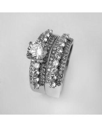 """Кольцо """"Богатство"""", цвет белый в серебре, размер 19 арт. СМЛ-125037-1-СМЛ0005433555"""