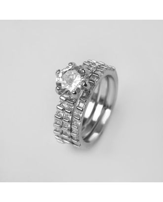 """Кольцо """"Богатство"""" крупный кристалл, цвет белый в серебре, размер 17 арт. СМЛ-125036-1-СМЛ0005433559"""