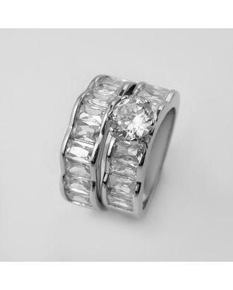 """Кольцо """"Богатство"""" два ряда, цвет белый в серебре, размер 18 арт. СМЛ-125035-2-СМЛ0005433568"""