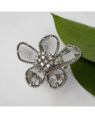 """Кольцо """"Цветок"""" волшебство, цвет бело-синий в серебре, безразмерное арт. СМЛ-125016-2-СМЛ0005433569"""