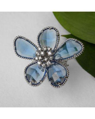 """Кольцо """"Цветок"""" волшебство, цвет бело-синий в серебре, безразмерное арт. СМЛ-125016-1-СМЛ0005433570"""