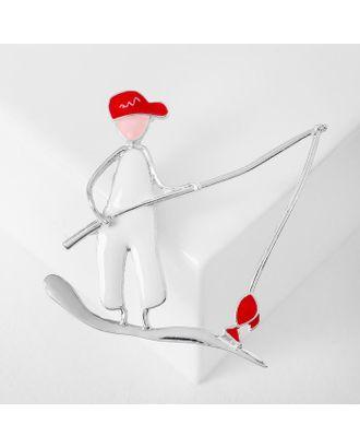 """Брошь """"Рыбак"""", цвет красно-белый в серебре арт. СМЛ-125017-1-СМЛ0005433688"""