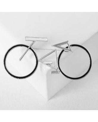 """Брошь """"Велосипед"""" геометрия, цвет чёрно-белый в серебре арт. СМЛ-125018-1-СМЛ0005433709"""