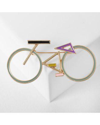 """Брошь """"Велосипед"""" геометрия, цвет чёрно-белый в серебре арт. СМЛ-125018-3-СМЛ0005433710"""