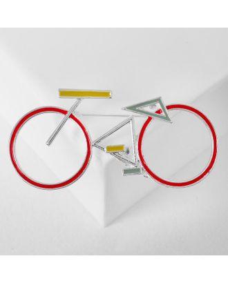 """Брошь """"Велосипед"""" геометрия, цвет чёрно-белый в серебре арт. СМЛ-125018-2-СМЛ0005433711"""