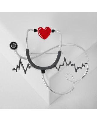 """Брошь """"Стетоскоп"""" кардиограмма, цвет красно-чёрный в серебре арт. СМЛ-125019-1-СМЛ0005433722"""