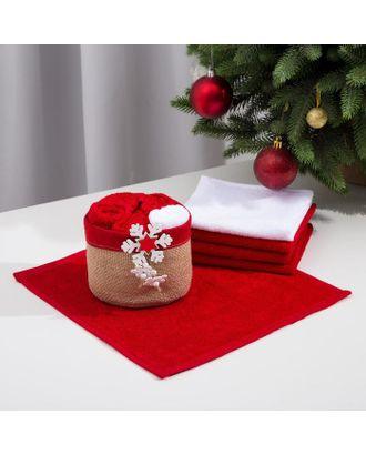 Набор полотенец в корзинке Этель «Снежинка» 30х30 см-5 шт арт. СМЛ-122721-1-СМЛ0005441775