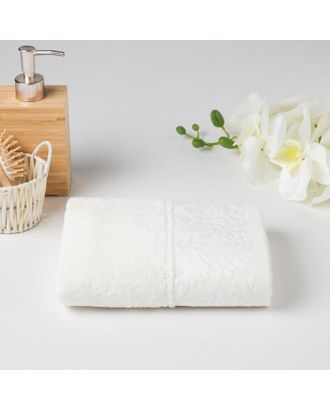 Полотенце махровое МУЗА 02-005 50х90 см, белый, хлопок 100%, 400г/м2 арт. СМЛ-125012-1-СМЛ0005450167