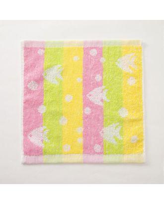 """Полотенце махровое Крошка Я """"Рыбки"""" 25*25 см, цв.желтый/розовый, 100% хлопок, 360 гр/м2 арт. СМЛ-125237-1-СМЛ0005469125"""
