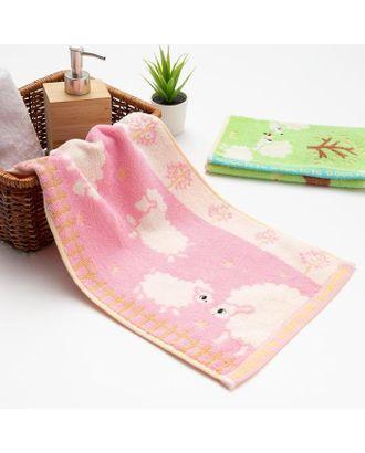 """Полотенце махровое Крошка Я """"Овечки"""" 25*50 см, цв.розовый, 100% хлопок, 400 гр/м2 арт. СМЛ-125267-1-СМЛ0005469155"""