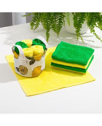 Набор полотенец в корзинке Этель «Лимоны» 30х30 см-5 шт арт. СМЛ-122723-1-СМЛ0005469193