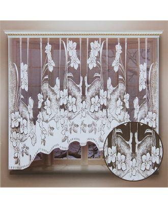 Штора кухонная со шторной лентой, ширина 260 см, высота 160 см, цвет белый арт. СМЛ-24723-1-СМЛ0740265