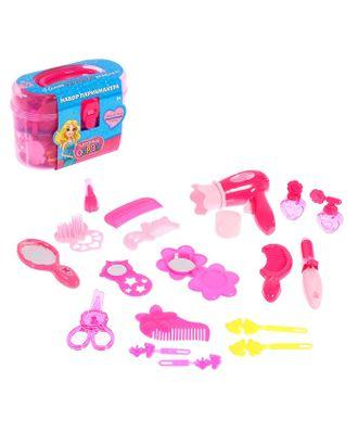 Набор парикмахера «Модный образ», розовый, 19 предметов арт. СМЛ-102335-1-СМЛ0000754576