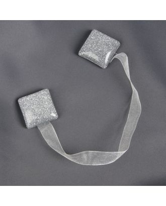 Подхват для штор «Квадрат с блёстками», 3,5 × 3,5 см, цвет серебряный арт. СМЛ-28793-1-СМЛ0754977