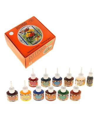 Краска по стеклу, набор 11 цветов х 25 мл + контур х 18 мл, витражная арт. СМЛ-24768-1-СМЛ0762892