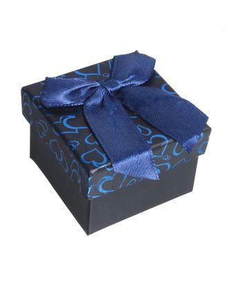 """Коробочка подарочная под кольцо """"Блестящие сердца"""", 5*5 (размер полезной части 4,5х4,5см) арт. СМЛ-20431-1-СМЛ0784710"""